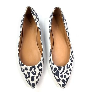 J Crew | Leopard Pointed Toe Canvas Flat